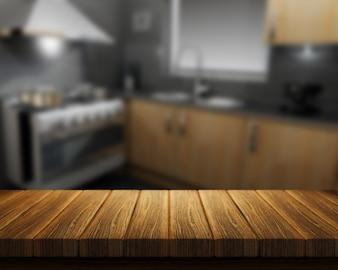 3D rendem de uma mesa de madeira com uma cozinha no fundo