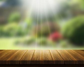 3D rendem de uma mesa de madeira com vista para o jardim turva com raios solares