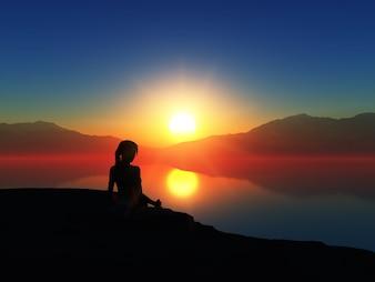 3D rendem de uma mulher em uma pose da ioga de encontro a um céu do por do sol