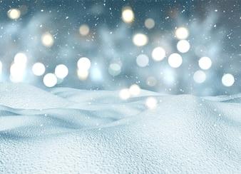 3D rendem de uma paisagem de neve de Natal