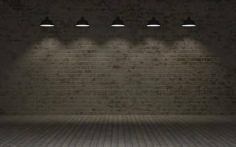 3d rendem de uma parede de tijolos expostos