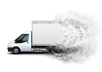3D rendem de uma van cama plana, com um efeito de velocidade adicionada