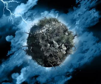 3D render de um globo com árvores e arbustos mortos em um céu tempestuoso com iluminação