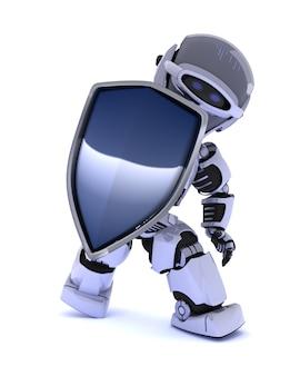 3D render de um robô com um escudo