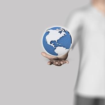 3D render de uma figura masculina segurando um globo na mão
