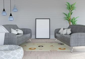 3D render de uma imagem em branco inclinada contra uma parede em um quarto interior