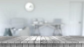 3D render de uma mesa de madeira com vista para um interior de sala despojado