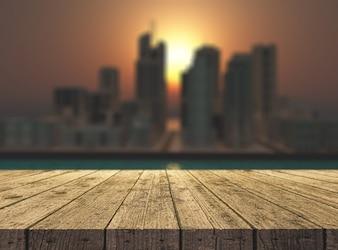 3D render de uma mesa de madeira com vista para uma paisagem de ficção da cidade