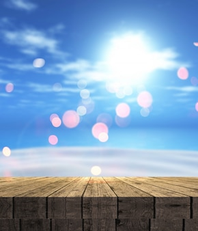 3D render de uma mesa de madeira com vista para uma paisagem de verão com areia do mar e céu azul