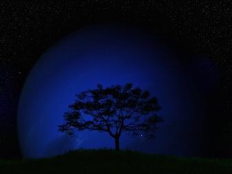 3D render de uma paisagem de árvore contra um planeta fictício em um céu noturno