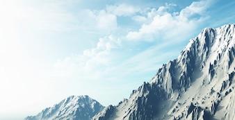 3D render de uma paisagem de montanha nevado