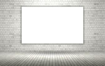 3d render de uma parede de tijolos expostos com uma tela em branco