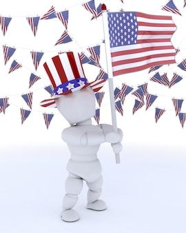 3D, render, homem, americano, bandeira