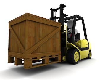 3D, Render, homem, dirigindo, garfo, elevador, caminhão, isolado, branca
