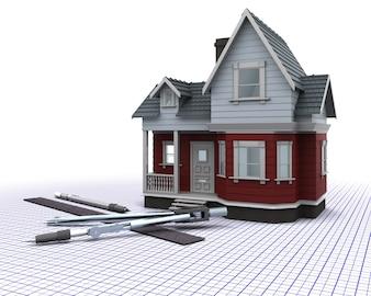 3D, render, madeira, casa, grade, desenho, instrumentos