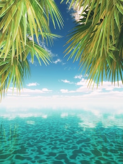 3D, render, tropicais, paisagem