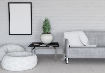 3D renderização de um quarto moderno com moldura em branco