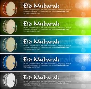 5 bandeira de cor para Eid Mubarak com tambor e bokeh