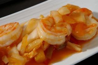 Receita asiático de camarão, camarão