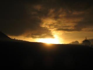 pôr do sol, cênica e quente