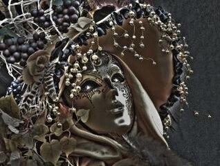 máscara de carnaval, cinza