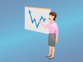 senhora dos desenhos animados mostrando um gráfico
