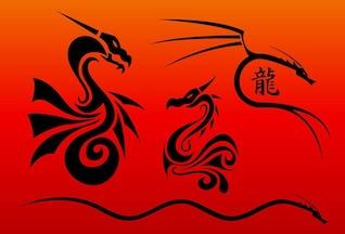 vetores chinês dragões
