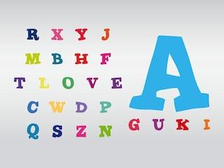 brilhante colorido infantil vetor alfabeto