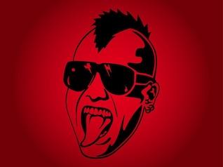 Homem do punk com óculos de sol retrato