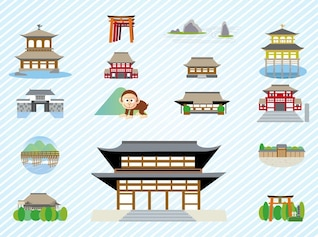 Japonês edifício de arquitectura vetor pacote