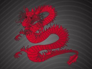 chinese irritado Red Dragon vector