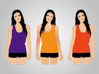 Morena em três diferentes camisas coloridas