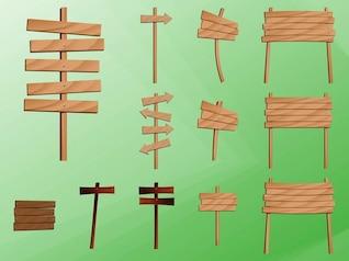 Colocar placas de madeira vetor decorativo