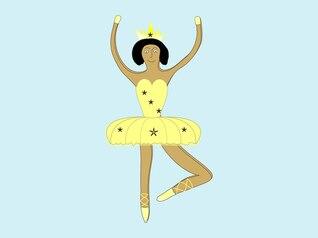 dos desenhos animados de uma bailarina