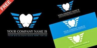 Logotipo atendimento odontológico com asas