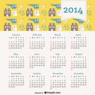 2014 projeto calendário conceito de saúde