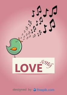 Pássaro cor de rosa vetor cantando uma canção de amor
