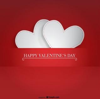 Dois projeto-corações de papel para cartão de Dia dos Namorados