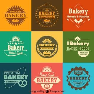 Retro logos padaria e emblemas coleção