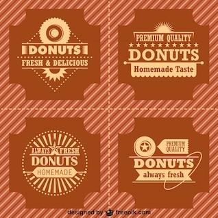 Rosquinhas retro logos e emblemas definidos