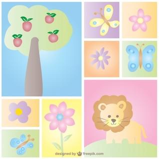 Projeto de cartão do bebê natureza