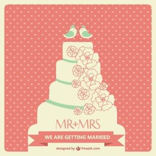 Arte bolo de casamento vetor