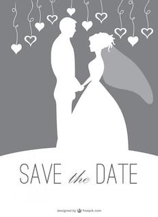 Silhueta convite de casamento casal