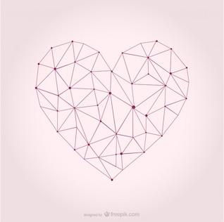 Coração do vetor desenho geométrico
