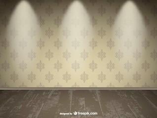 Desenho realista holofotes parede vazia