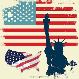 EUA estátua da liberdade conjunto bandeira vetor