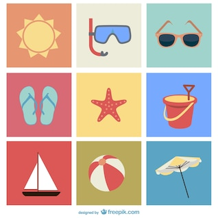 ícones praia verão vetor