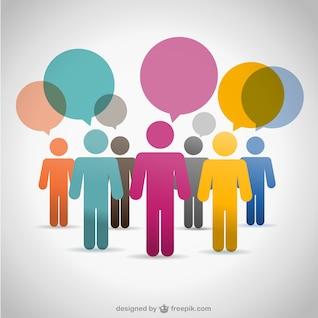 Silouettes vetoriais pessoas set de comunicação