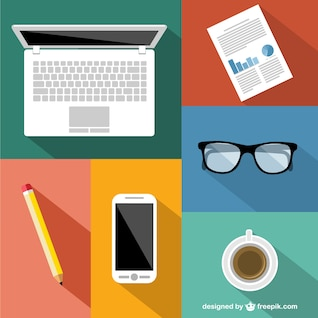 Elementos de escritório plana vetor
