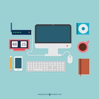Escritório de design liso fornece gráficos